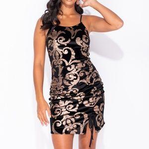 NWT Velvet Baroque Print Ruched Bodycon Mini Dress